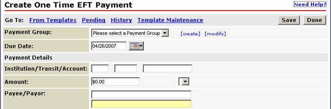 Creating EFT Payment Groups
